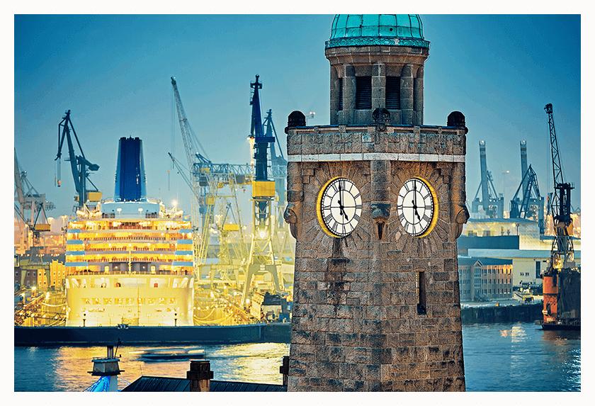 Hamburg mit Sicht in den Hafen, Touristik Souvenir