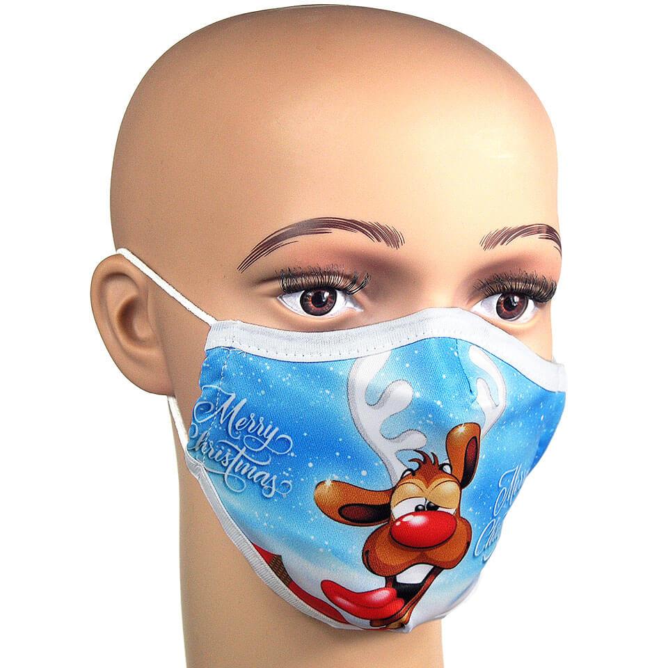Corona Maske Mundschutz mit Rentier Weihnachtsmotiv