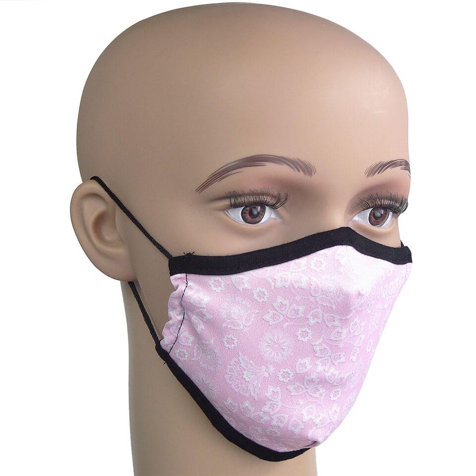 Mund-Nasenschutz, Motiv Pink mit Blumenmuster