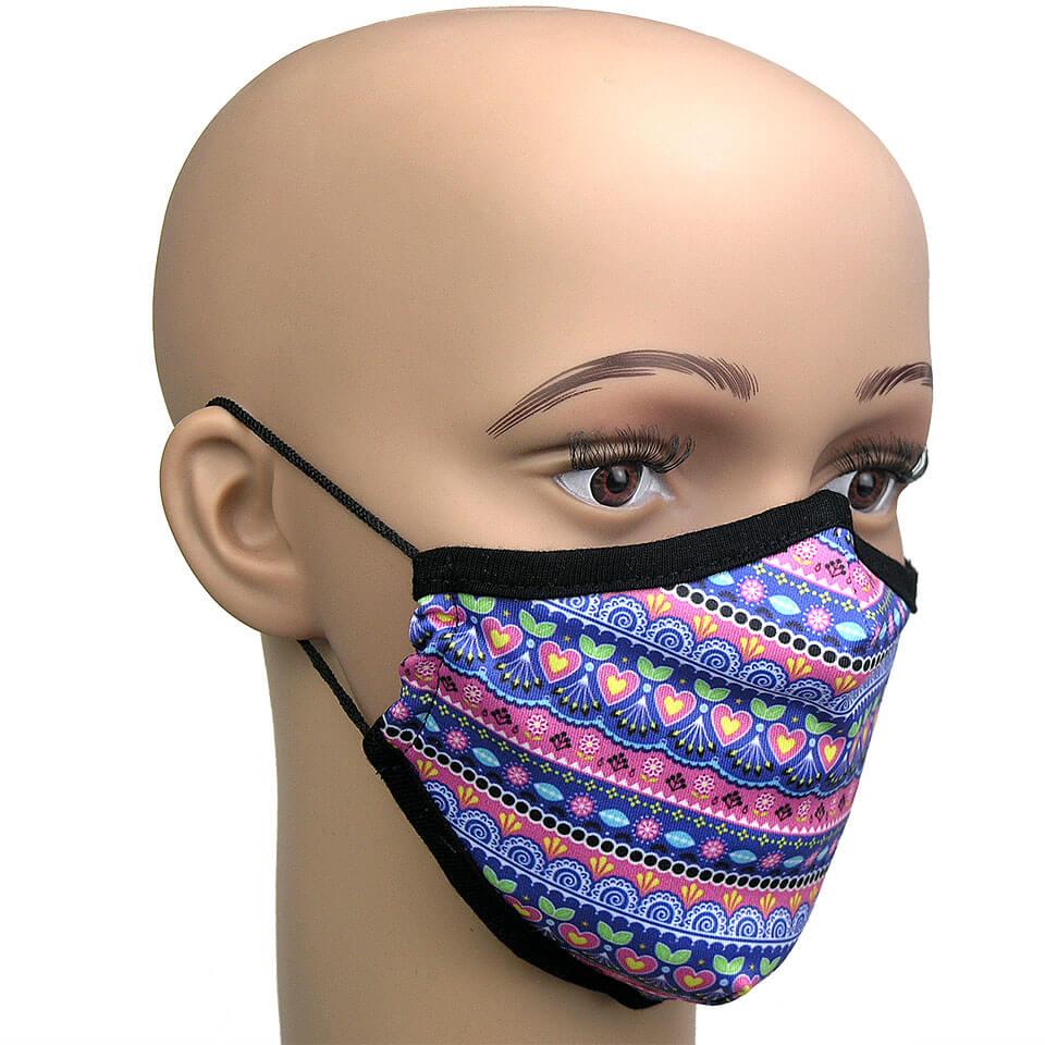 Corona Kindermaske, Muster Pink und Blau