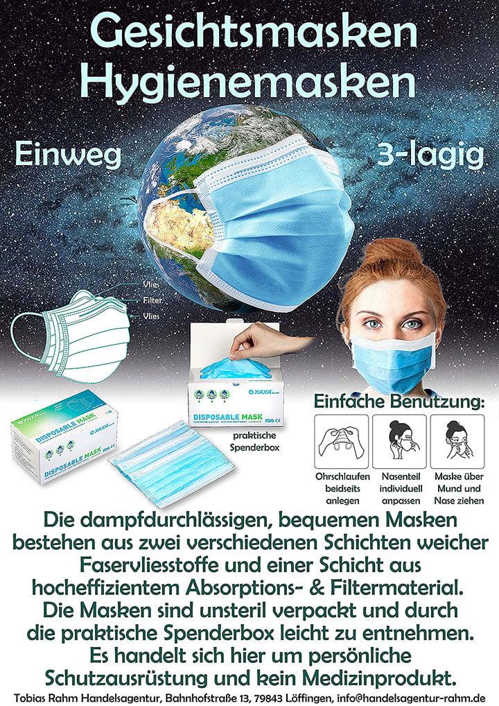 Gesichstmasken Hygienemasken als Schutz gegen Corona