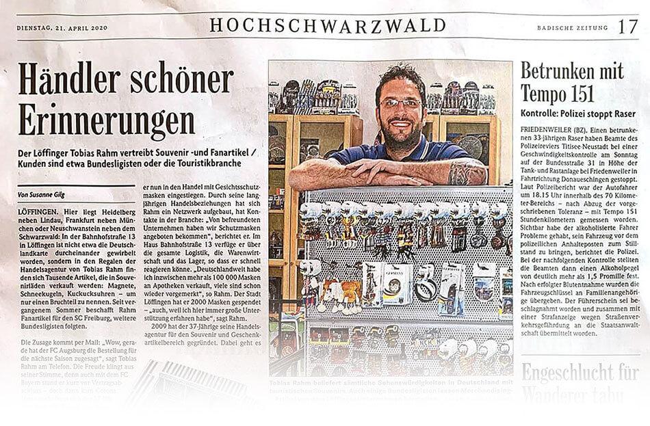 Zeitungsausschnitt über Tobias Rahm Handelsagentur in der Badischen Zeitung Hochschwarzwald