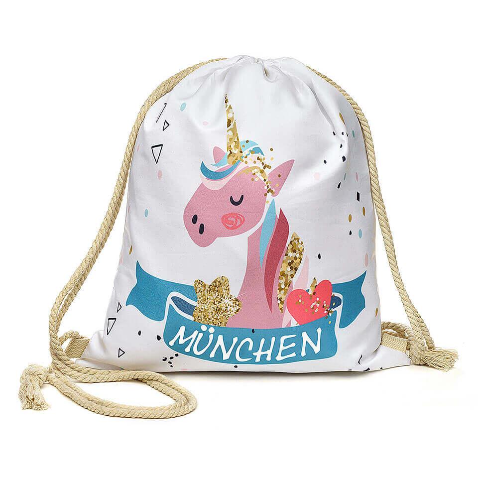 Stoffbeutel «München» mit Einhorn-Motiv, Beutel für Kinder